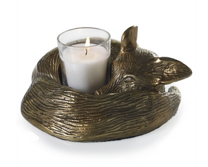 Brass Fox Candle Holder