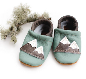 Leather Baby Shoes with Mountains