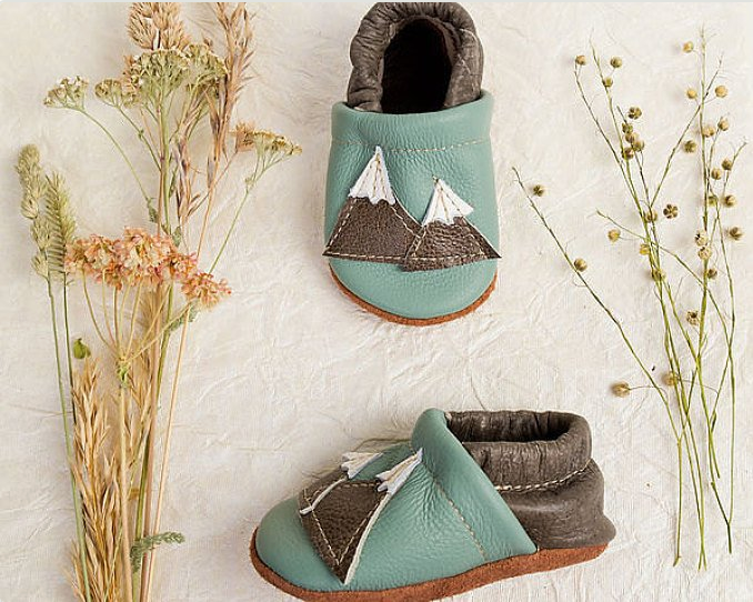 Leather Baby Moccs with Mountains