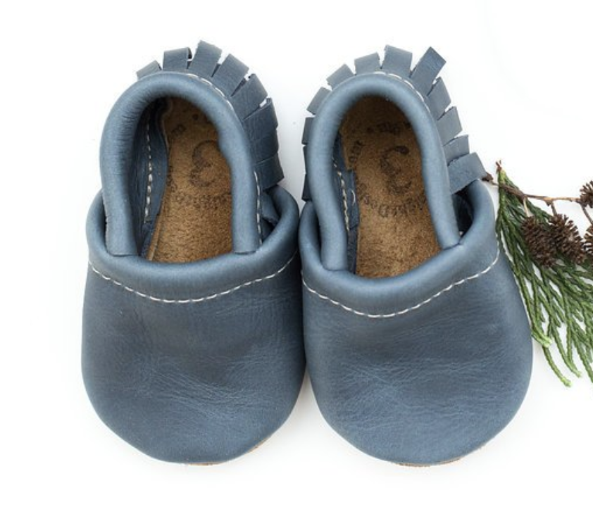 Leather Baby Moccs - Denim Color with Fringe