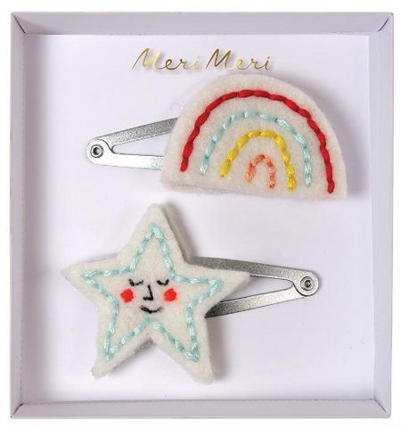 Hair Clips - Rainbow & Star