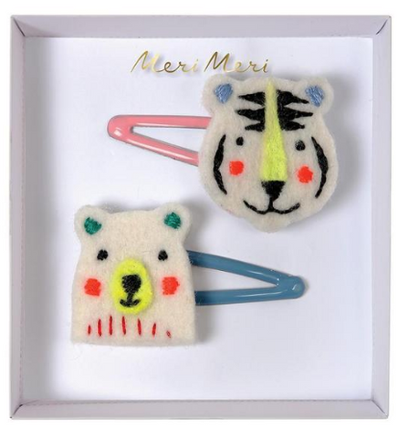 Hair Clips - Bear & Tiger