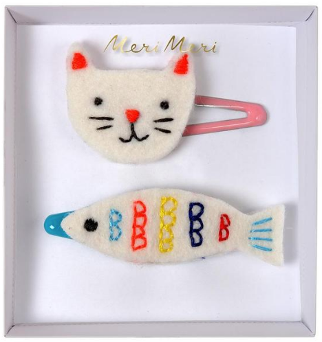 Hair Clips - Cat & Fish