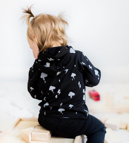 Toddler Hoodie - Rainbow, Cloud, Lightning Prints by Babysoy