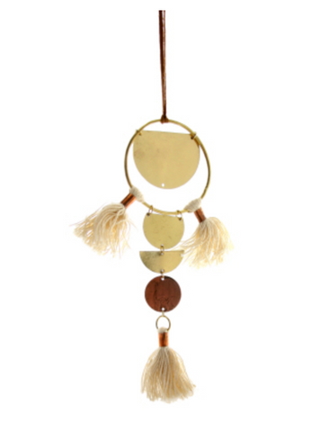 Brass Geometric Ornament with Three Tassels