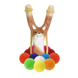 Wooden Fox Slingshot + Felt Ball Ammo