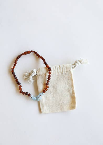 Kid's Raw Cognac Amber + Raw Amazonite Teething Necklace