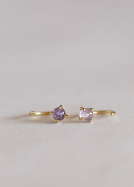 Amethyst Huggies Earrings