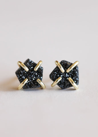 Black Druzy Prong Earrings