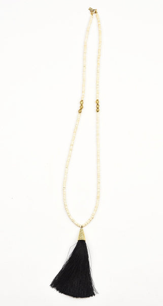 Necklace - White Coconut Bead and African Brass with Tassel