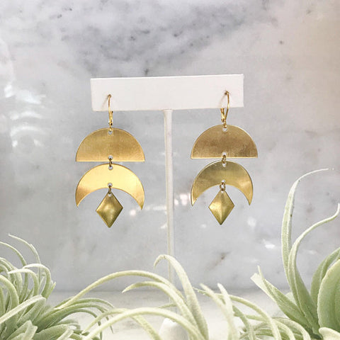 Brass Geometric Earrings
