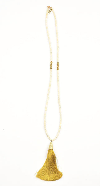 Necklace - White Coconut Bead and African Brass 40""
