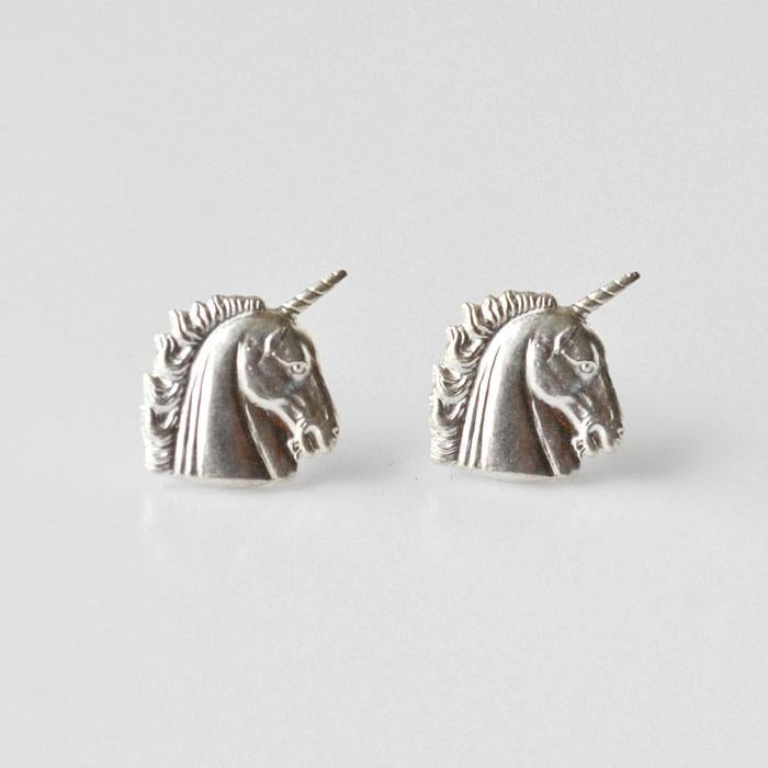 Grey Theory Mill - Silver Unicorn Earrings