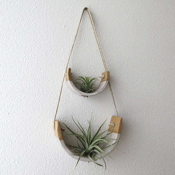 Small Speckle Buff Hanging Air Plant Cradle Dipped in Gloss White Glaze