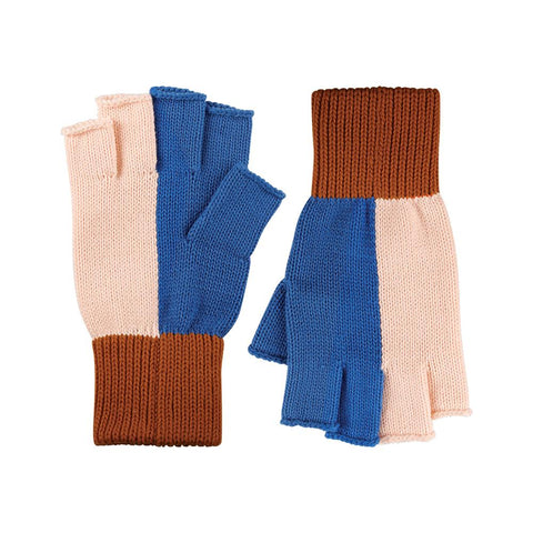 Blue / Blush Fingerless Gloves