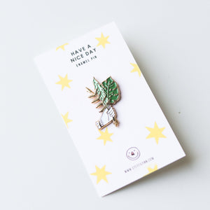 Hand with Green Flora Enamel Pin