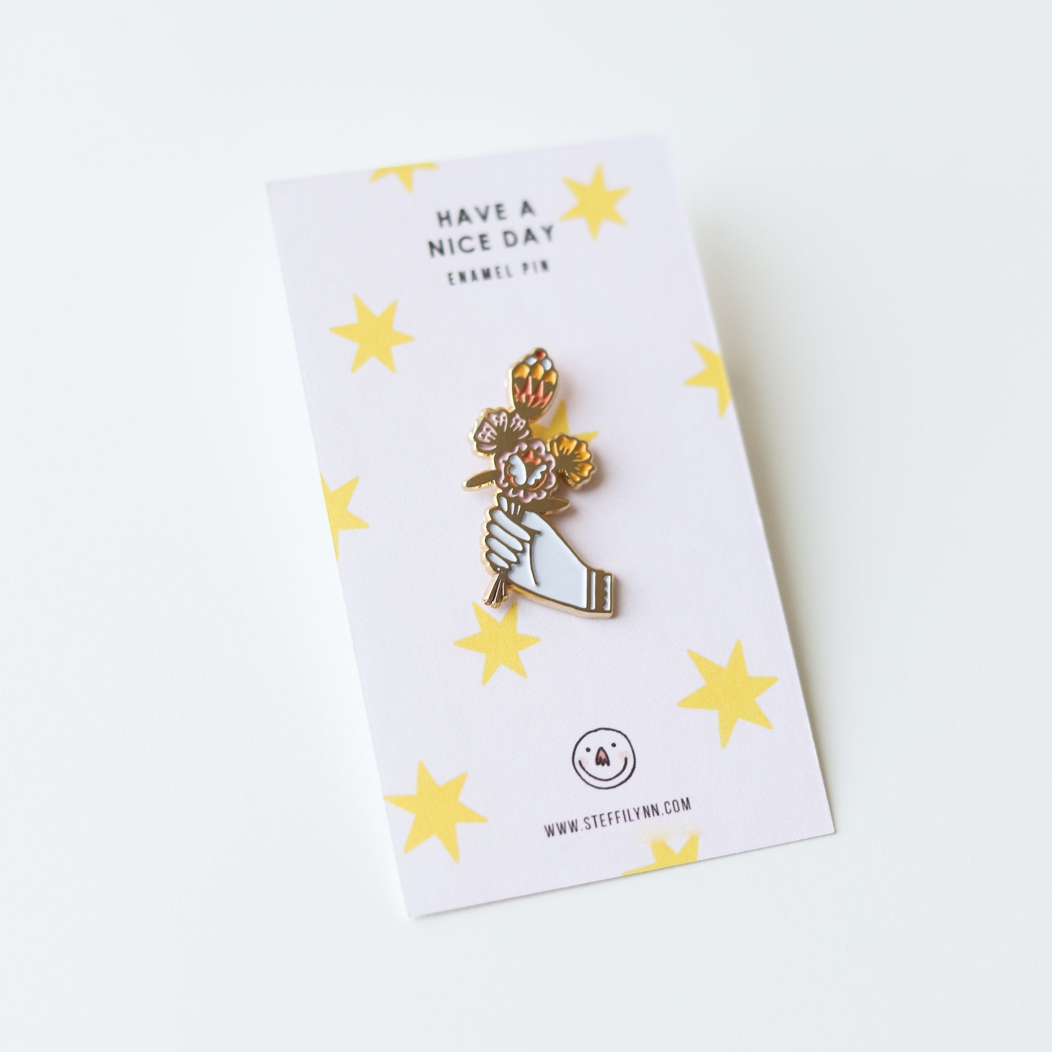 Hand with Pink Flora Enamel Pin