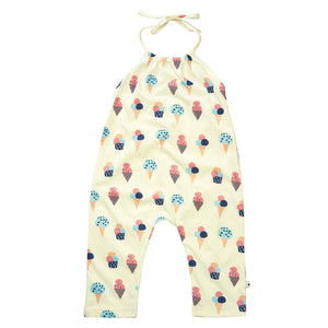 Halter Top Romper - Ice Cream and Strawberry Prints by Babysoy