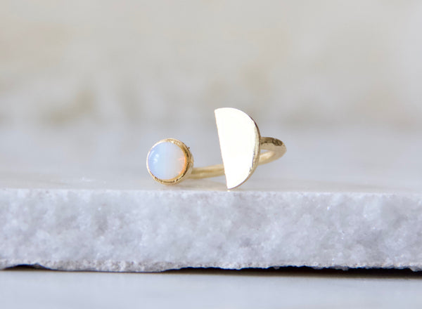Moonstone or Opalite Half Moon Ring