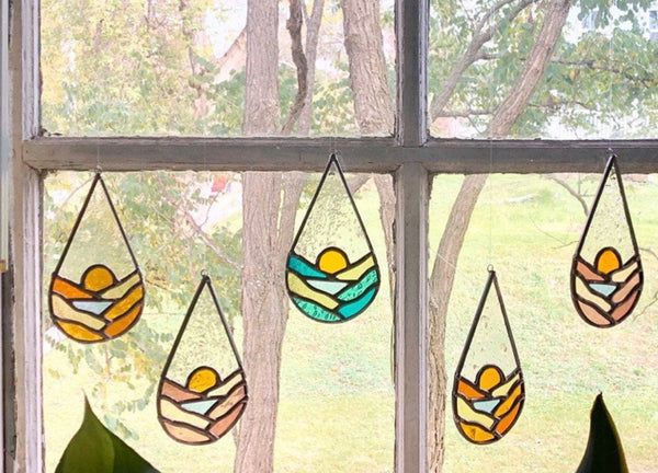 Stained Glass Teardrop Landscape - Cedar and Spruce