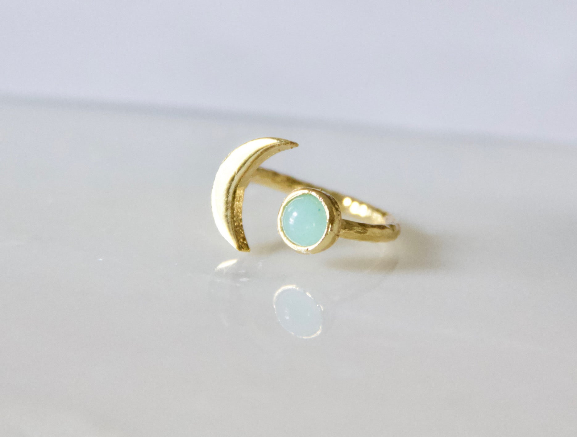Amazonite Crescent Moon Ring