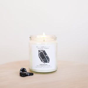 Obsidian Crystal Candle - Block Negativity | 9 oz