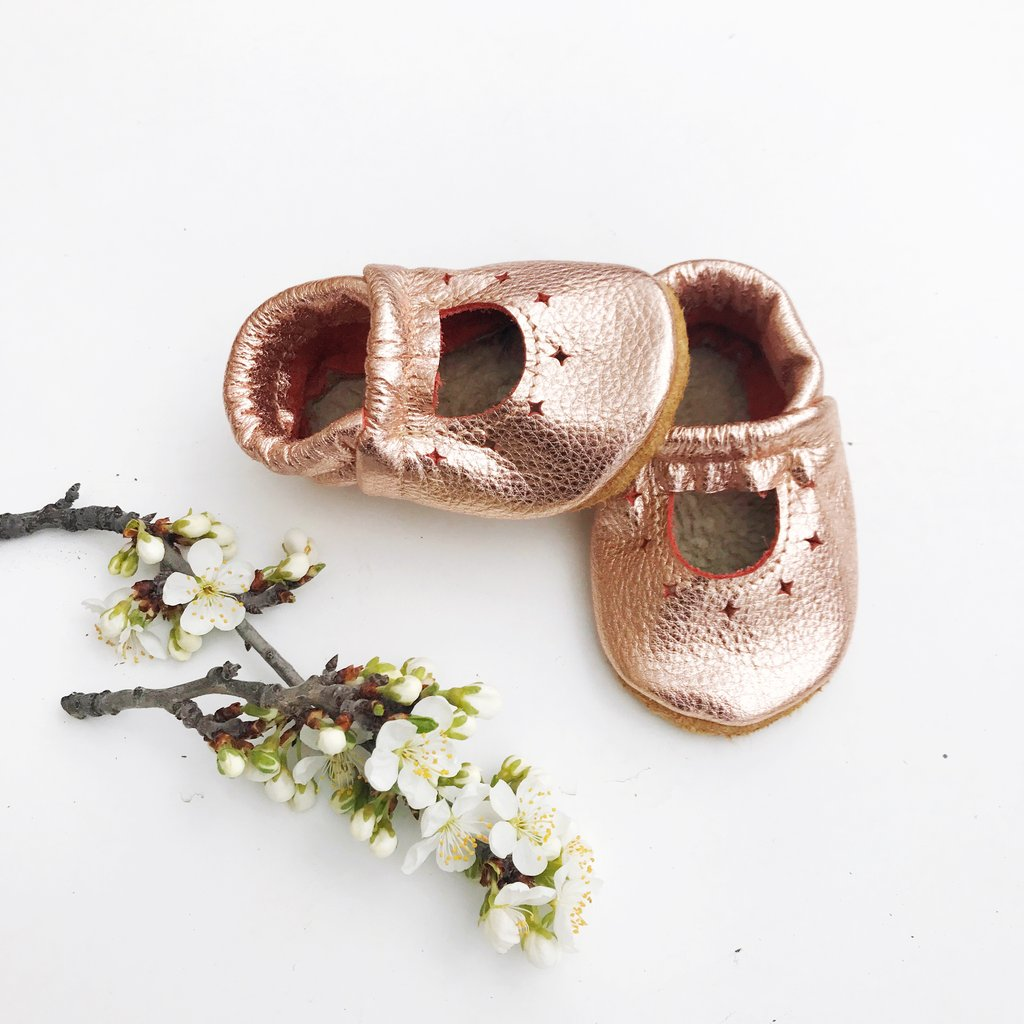 Leather Baby Starry Janes - Rose Gold