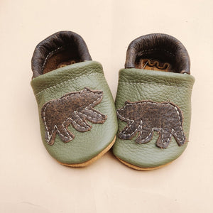 Leather Baby Moccs with Bears