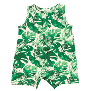 Romper with Monstera Print
