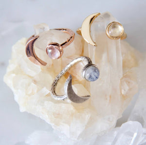 Moonstone Crescent Moon Ring