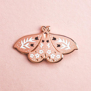 Rose Gold Floral Moth Enamel Pin