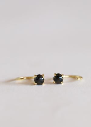 Obsidian Huggies Earrings