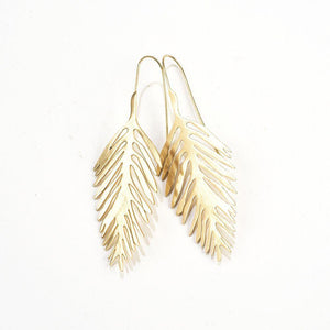 Earrings - Brass Palm Leaf Drop