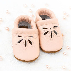 Leather Baby Shoes - Peach Daisy Sandals