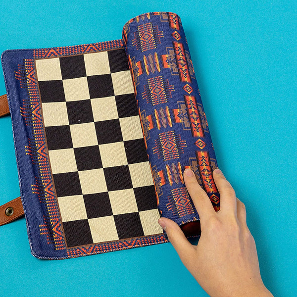 Pendleton Chess & Checkers Set: Travel-Ready Roll-Up Game