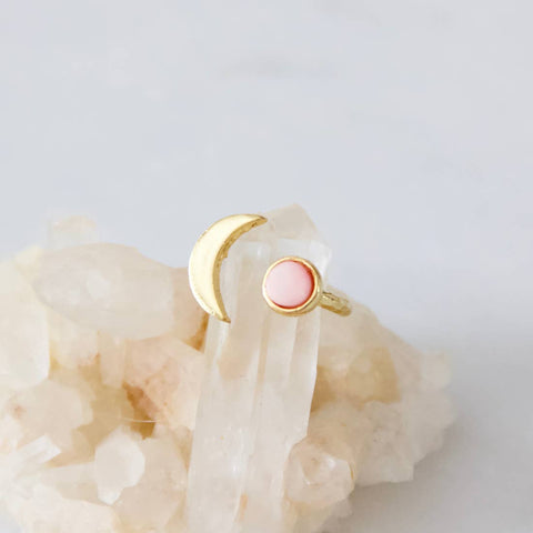 Pink Coral Crescent Moon Ring