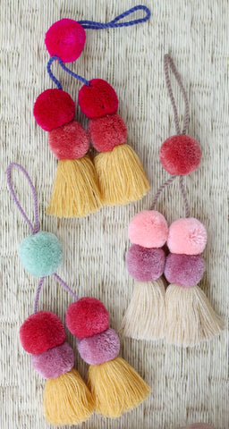Stacked Pom Tassel Bag Charm