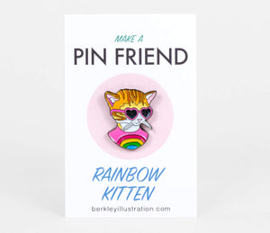 Rainbow Kitten Pin