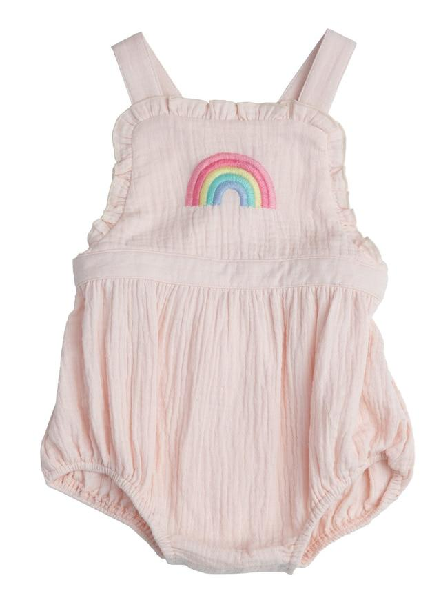 Rainbow Overall Bubble Romper with Ruffle