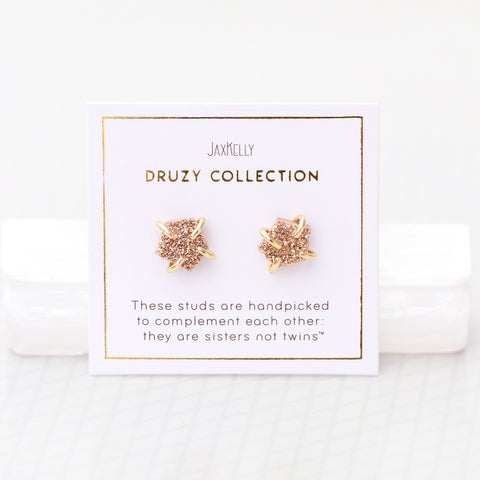Rose Gold Druzy Prong Earrings