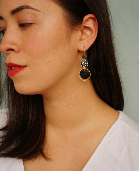 Freckled Circle Black + White Leather Earrings