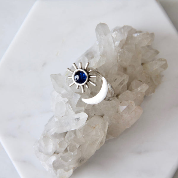 Full Sun and Crescent Moon Ring With Stone