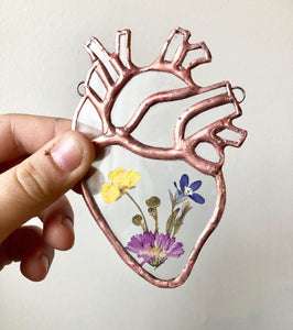 Floral Anatomical Heart Stained Glass