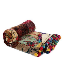Velvet Kantha Throw with Pom Poms