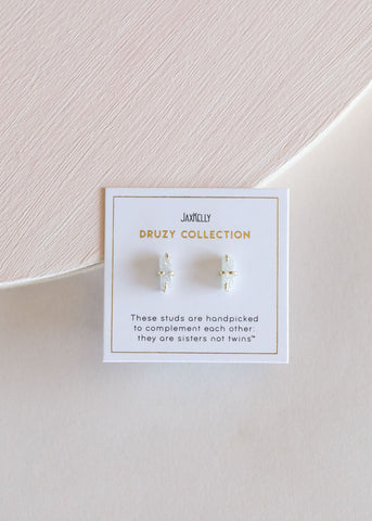White Bar Druzy Stud Earrings