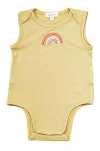 Mustard Short Sleeve Rainbow Onesie