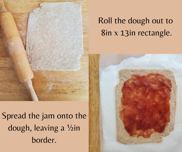 spread out dough and a rolling pin and another photo of dough with jam on top