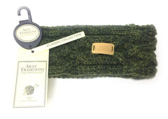 Aran Traditions Cable Knit Dark Green Headband