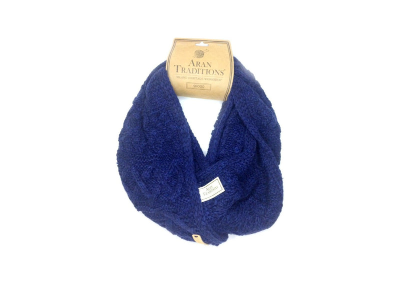 Aran Traditions Cable Snood in the colour blue