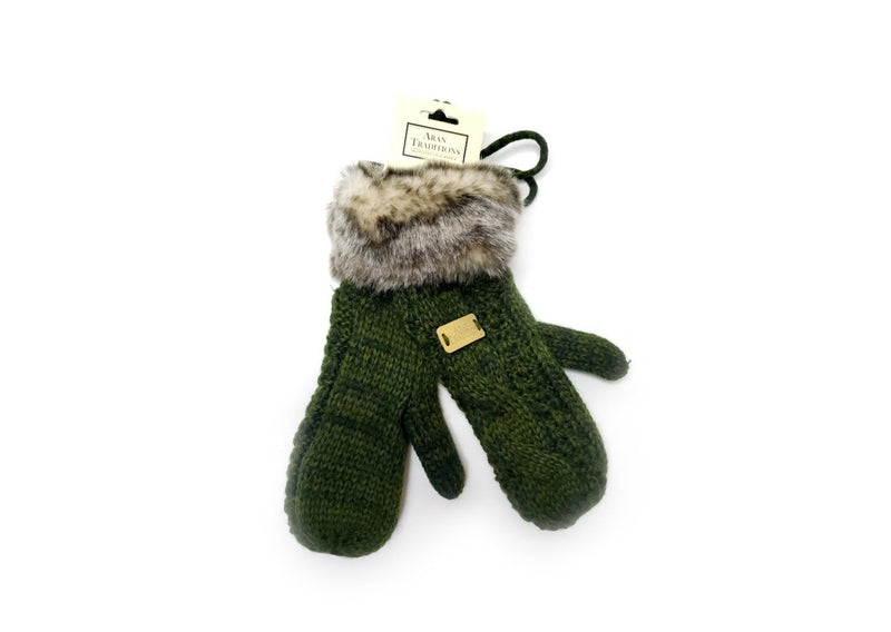 aran traditions cable knitted green mits